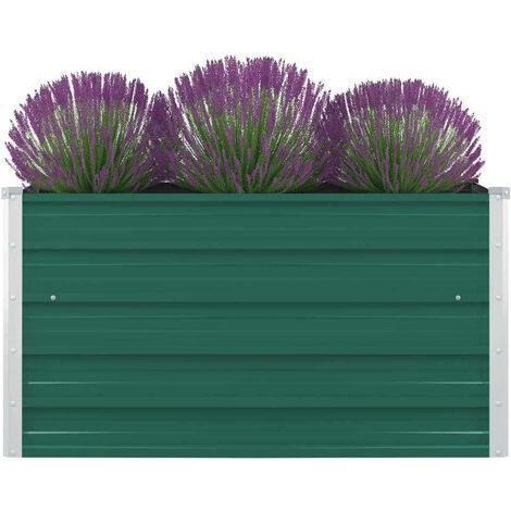 Hommoo Raised Garden Bed 100x100x45 cm Galvanised Steel Green