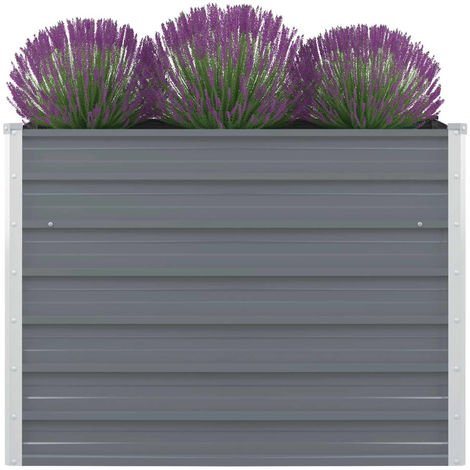 Hommoo Raised Garden Bed 100x100x77 cm Galvanised Steel Grey VD27000
