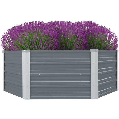 Hommoo Raised Garden Bed 129x129x46 cm Galvanised Steel Grey VD26998