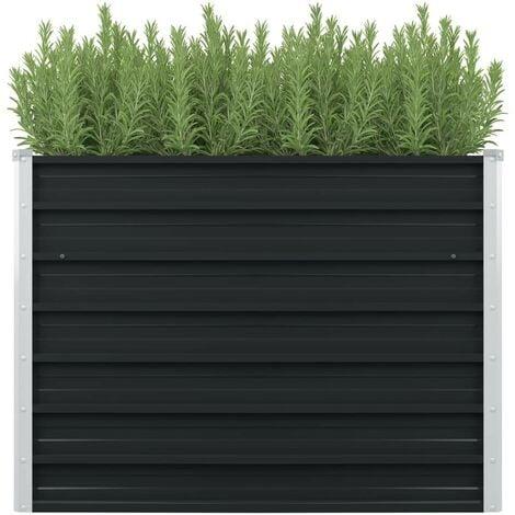 Hommoo Raised Garden Bed Anthracite 100x100x77 cm Galvanised Steel VD29846