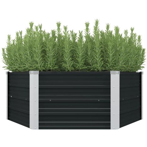 Hommoo Raised Garden Bed Anthracite 129x129x45 cm Galvanised Steel VD29844