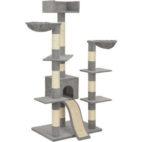 Hommoo Rascador para gatos con postes de sisal gris 183 cm XXL
