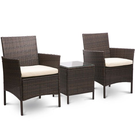 Hommoo Rattan Wicker Garden Furniture Set 3 Piece Patio Outdoor Rattan Patio Set Includes Cushion One Glass Table 1 Year Warranty