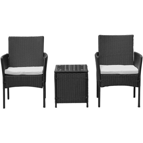 Hommoo Rattan Wicker Garden Furniture Set 3 Piece Patio Outdoor Rattan Patio Set Includes Cushion One Glass Table