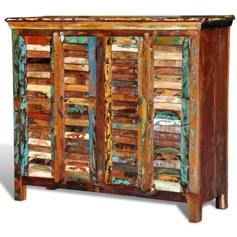 Hommoo Reclaimed Cupboard Solid Wood with 4 Doors