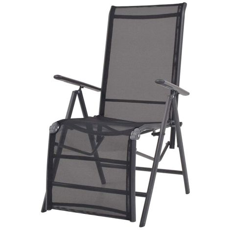 Hommoo Reclining Deck Chair Aluminium and Textilene Black