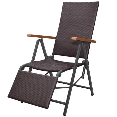Hommoo Reclining Deck Chair Poly Rattan Brown