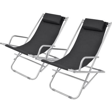 Hommoo Reclining Deck Chairs 2 pcs Steel Black