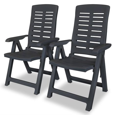 Hommoo Reclining Garden Chairs 2 pcs Plastic Anthracite VD28123