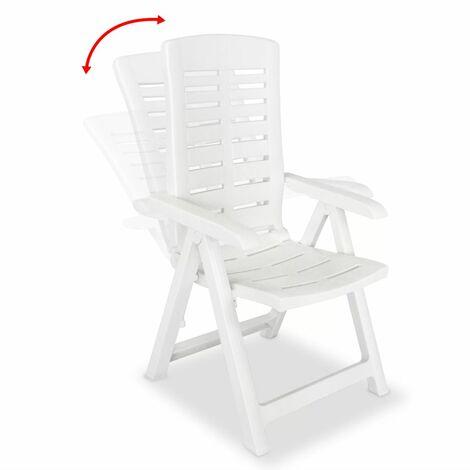 Hommoo Reclining Garden Chairs 2 pcs Plastic White QAH28121
