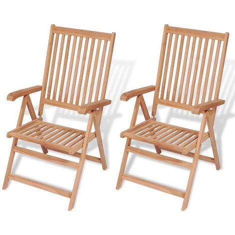 Hommoo Reclining Garden Chairs 2 pcs Solid Teak Wood
