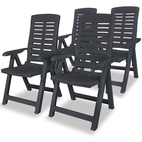 Hommoo Reclining Garden Chairs 4 pcs Plastic Anthracite