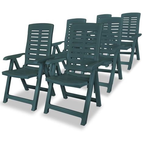 Hommoo Reclining Garden Chairs 6 pcs Plastic Green VD18007