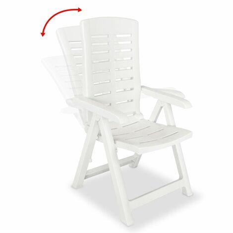 Hommoo Reclining Garden Chairs 6 pcs Plastic White QAH18005