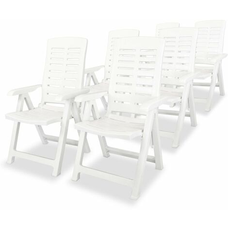 Hommoo Reclining Garden Chairs 6 pcs Plastic White VD18005