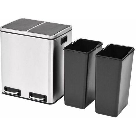 Hommoo Recycling Pedal Bin Garbage Trash Bin Stainless Steel 2x15 L QAH30471