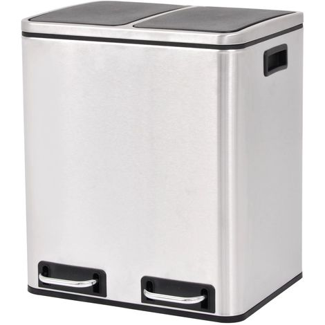 Hommoo Recycling Pedal Bin Garbage Trash Bin Stainless Steel 2x15 L VD30471