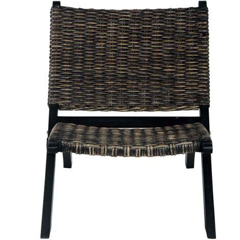Hommoo Relaxing Chair Black Natural Kubu Rattan and Solid Mahogany Wood QAH36484