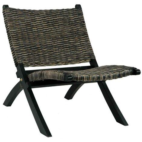 Hommoo Relaxing Chair Black Natural Kubu Rattan and Solid Mahogany Wood VD36484