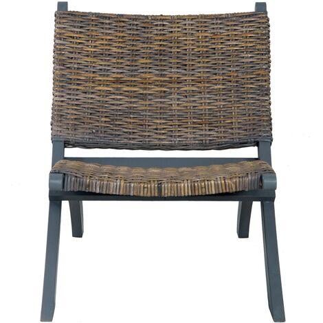 Hommoo Relaxing Chair Grey Natural Kubu Rattan and Solid Mahogany Wood QAH36483