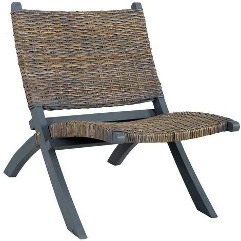 Hommoo Relaxing Chair Grey Natural Kubu Rattan and Solid Mahogany Wood VD36483