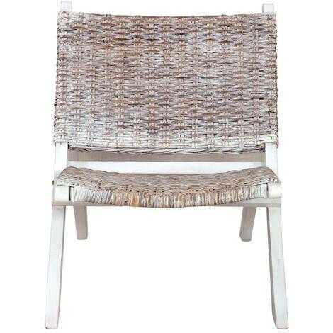 Hommoo Relaxing Chair White Natural Kubu Rattan and Solid Mahogany Wood QAH36482