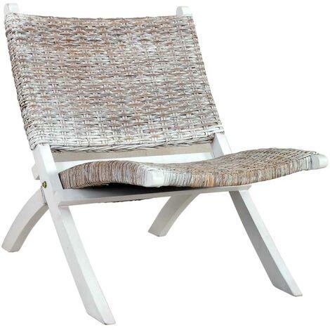 Hommoo Relaxing Chair White Natural Kubu Rattan and Solid Mahogany Wood VD36482