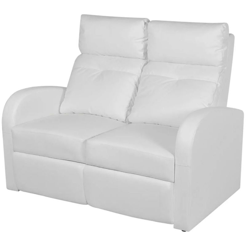 Relaxsessel 2-Sitzer Kunstleder Weiß VD09004 - Hommoo