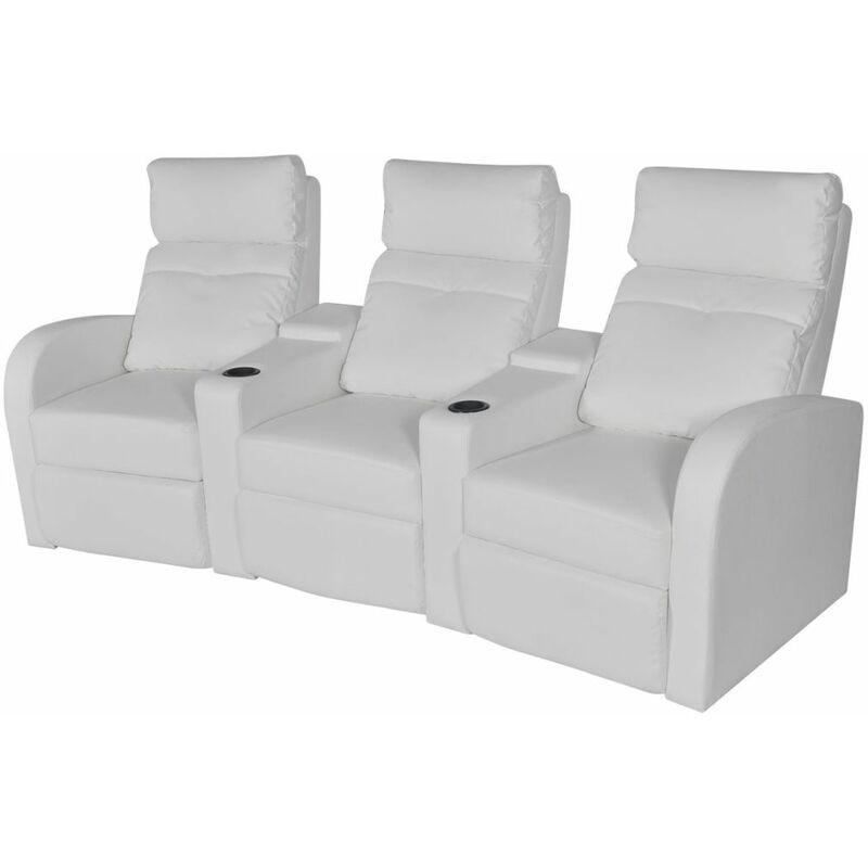 Relaxsessel 3-Sitzer Kunstleder Weiß VD09005 - Hommoo