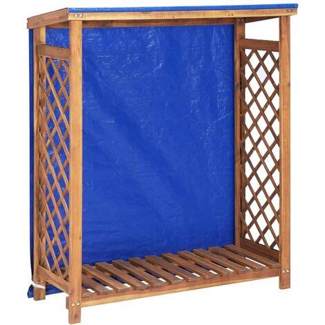 Hommoo Remise à bois de chauffage 105x38x118 cm Bois d'acacia solide HDV45604
