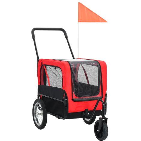 Hommoo Remolque de bicicleta de mascotas y carrito 2 en 1 rojo y negro