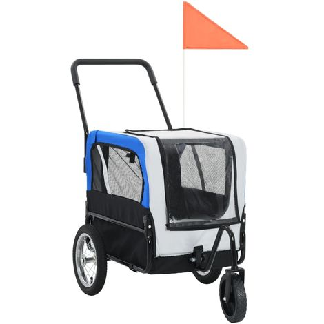 Hommoo Remolque de bicicleta para mascotas y carrito 2-en-1 gris azul