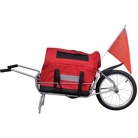 Hommoo Remorque de vélo à une roue avec sac de rangement