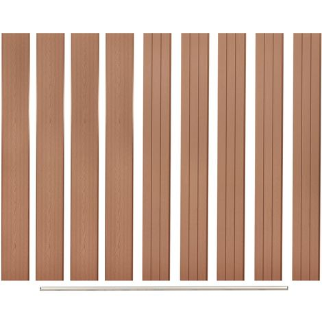 Hommoo Replacement Fence Boards 9 pcs WPC 170 cm Brown