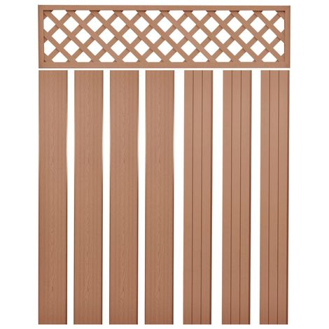 Hommoo Replacement Fence Boards WPC 7 pcs 170 cm Brown