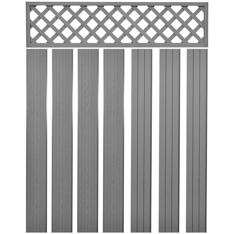 Hommoo Replacement Fence Boards WPC 7 pcs 170 cm Grey