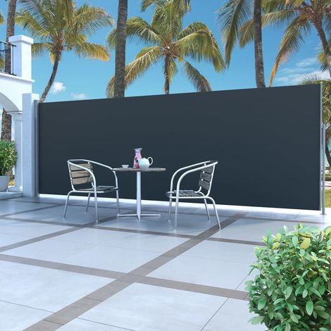 Hommoo Retractable Side Awning 160 x 500 cm Black
