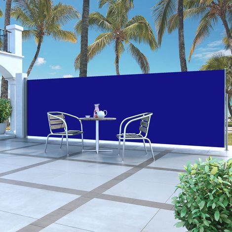 Hommoo Retractable Side Awning 160 x 500 cm Blue