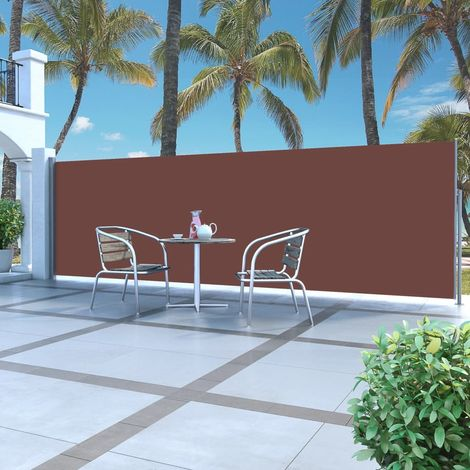 Hommoo Retractable Side Awning 160 x 500 cm Brown