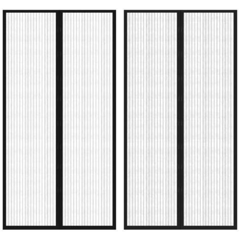 Hommoo Rideau de porte contre insectes 210x100cm 2 pcs Magnétique Noir