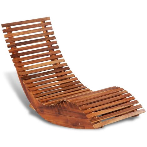 Hommoo Rocking Sun Lounger Acacia Wood