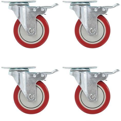 Hommoo Ruedas giratorias con frenos dobles 4 unidades 100 mm