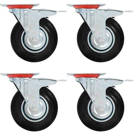 Hommoo Ruedas giratorias con frenos dobles 4 unidades 125 mm