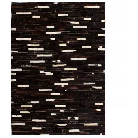 Hommoo Rug Genuine Leather Patchwork 80x150 cm Stripe Black/White