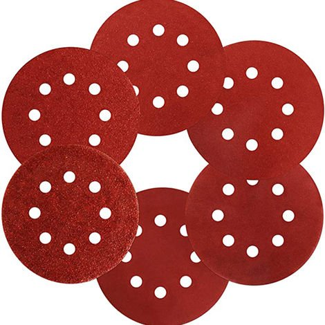 Hommoo Sanding Disc Abrasive Paper 125 mm - 10 Discs: 8 holes for Orbital Sander - Different size available