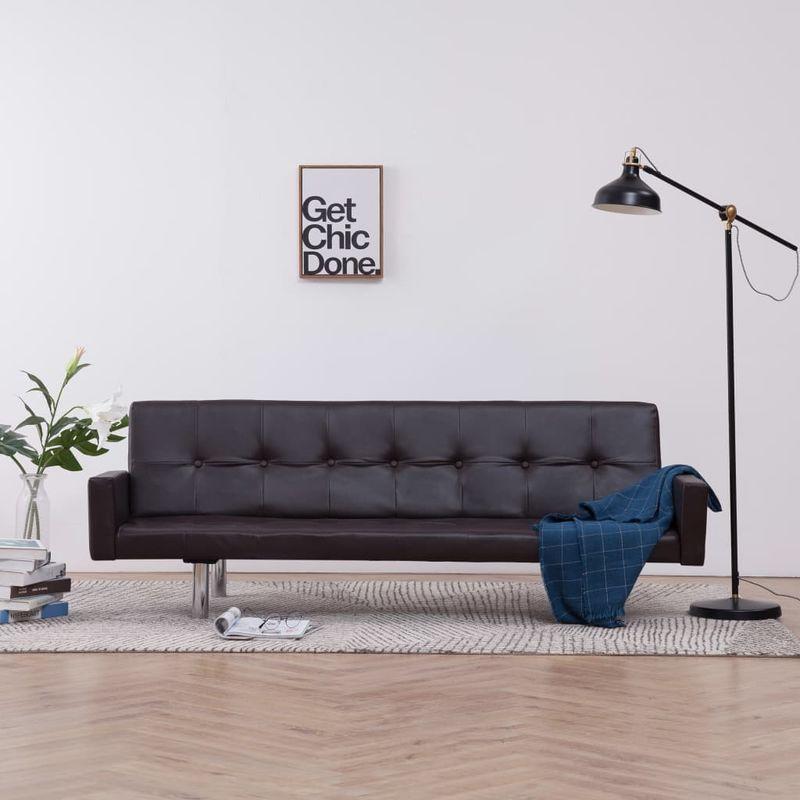 Schlafsofa mit Armlehnen Braun Kunstleder VD23501 - Hommoo