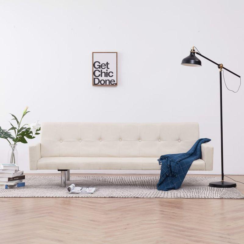 Hommoo Schlafsofa mit Armlehnen Creme Polyester VD23504