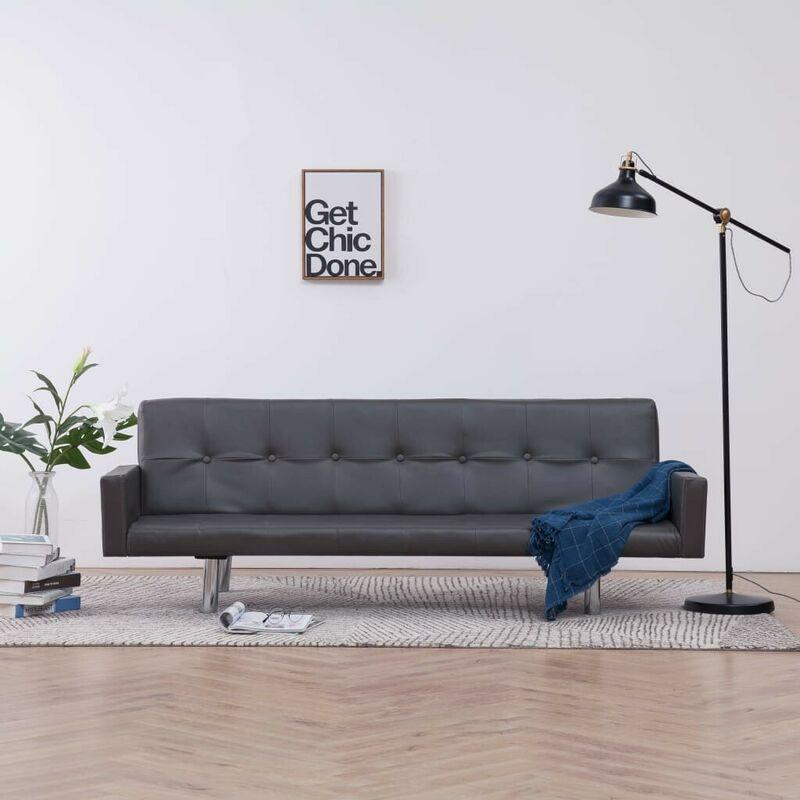 Schlafsofa mit Armlehnen Grau Kunstleder VD23500 - Hommoo