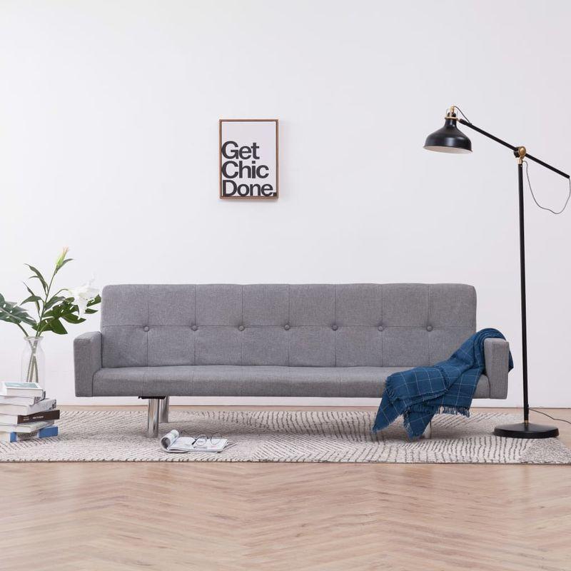 Schlafsofa mit Armlehnen Hellgrau Polyester VD23502 - Hommoo