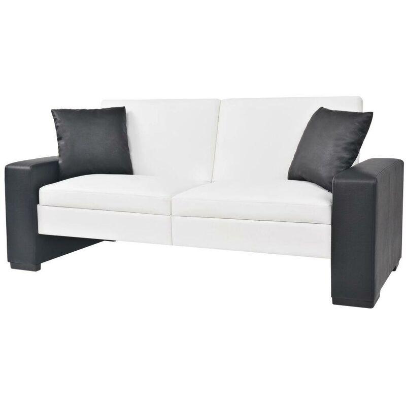 Schlafsofa mit Armlehnen PVC Weiß Verstellbar VD11011 - Hommoo